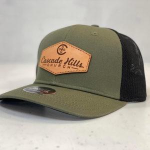 Cascade Hills Leather Patch Hat - Olive/Black