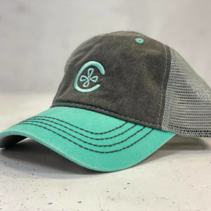 2 Toned Bill Unstructured C Logo Hat - Grey/Teal
