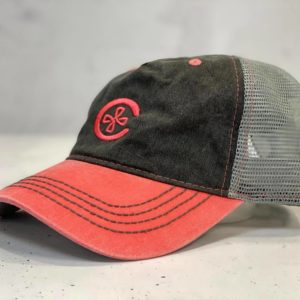 2 Toned Bill Unstructured C Logo Hat - Grey/Salmon