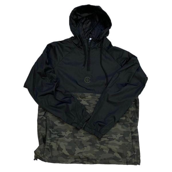 1/4 Zip Black/Camo Wind Pullover