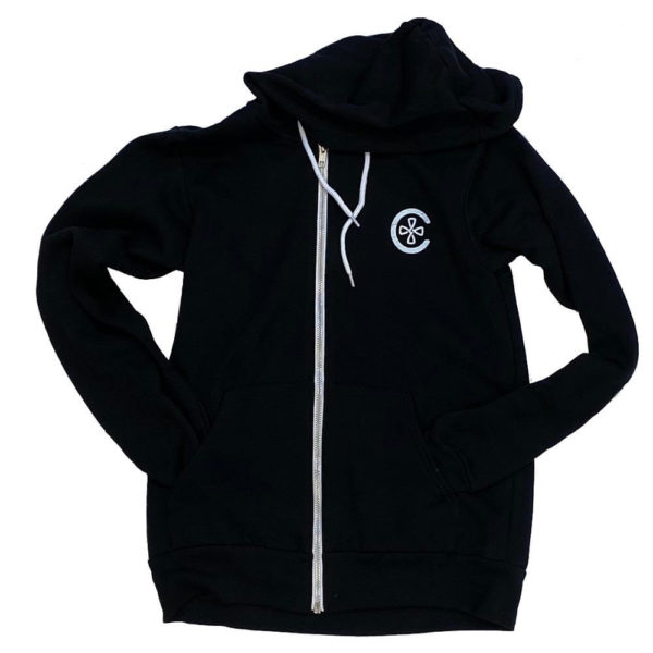 Zipper Logo Hoodie - Black - Front